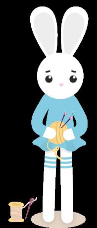 Lapin blanc en robe bleue qui tient une pelote de laine