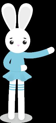 Lapin blanc en robe bleue tendant les bras
